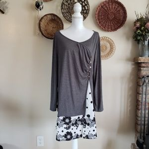 Rosegal Charcoal Blouse w/Shear Accent